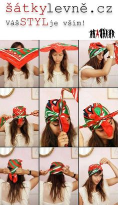 Jak vázat šátek do vlasů?  Menší inspirace viz. foto.  Přejeme Vám úžasný pátek STYLOVÉ dámy   www.satkylevne.cz