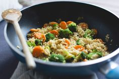 This recipe combines clean, nutrient-rich ingredients like broccoli florets and chopped carrots with a wholesome starch: whole-wheat couscous.