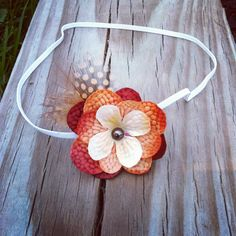 Fall Hydrangea Flower & Feather Headband Baby by DarlingDelilah777, $3.50