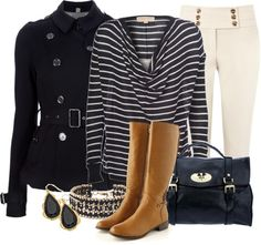 """Navy Trench"" by stylesbyjoey ❤ liked on Polyvore"