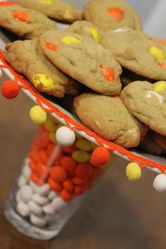 M's candy corn white chocolate macadamia nut cookies
