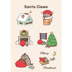Pusheen the Cat as Santa Claws [animated] ~ Christmas humor ~ Santa Claus Pusheen Christmas, Christmas Cats, Merry Christmas, Funny Christmas, Pusheen Love, Pusheen Gif, Pusheen Stuff, Santa Claws, Funny Comic Strips
