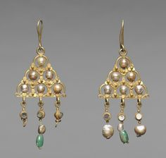 Byzantium, early Byzantine period, 7th century, gold, pearls, glass, and emeralds, Overall: 10.20 x 4.50 cm (4 x 1 3/4 inches). Purchase from the J. H. Wade Fund 1947.178.a