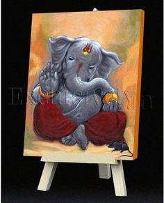 Limited Edition Ganesha Painting in Grey and Maroon