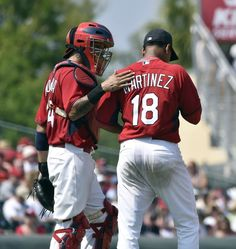 Yadier Molina and Carlos Martinez -- Spring Training.