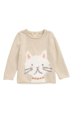 A fuzzy feline decorates the front of a cozy cotton sweater with a rolled neckline, cuffs and hem. Style Name:Peek Essentials Kitty Sweater (Baby). Style Number: Available in stores. Nordstrom Gifts, Baby Sweaters, Cotton Sweater, Cool Cats, Kids Wear, Cat Lovers, New Baby Products, Infant, Essentials