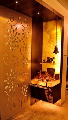 Puja room in modern indian apartments love the folding Interior design for pooja room wall units