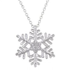 Cubic Zirconia Jewelry Large Snowflake Pendant Necklace with Chain Drop Necklace, Pendant Necklace, Pendant Jewelry, Jewelry Box, Fine Jewelry, Snowflake Designs, Layered Jewelry, Stone Cuts, Crystal Earrings