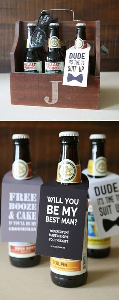 32 ideas wedding gifts for bridal party groomsmen awesome Asking Groomsmen, Wedding Gifts For Groomsmen, Groomsmen Proposal, Gifts For Wedding Party, Groom And Groomsmen, Party Gifts, Bridesmaid Gifts, Wedding Cards, How To Ask Groomsmen