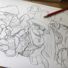 Asterix style inspired mean asses.... #cheo #sketch #uderzo