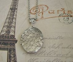 Oval Silver Floral Locket Beautiful Necklace Wedding Bride Mother Sister Friend Anniversary Wife Memories Photo Pictures - Dominique on Etsy, $34.00