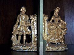Vintage Chalk Ware Bookends Victorian Lady by TheSingingTurtle, $25.00 SOLD