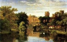 'Warwick Castle, England', Oil On Canvas by Jasper Francis Cropsey (1823-1900, United States)