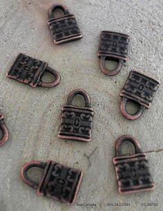 Tibetan Red Copper Vintage 12mm Pad Locks                         CC-90192