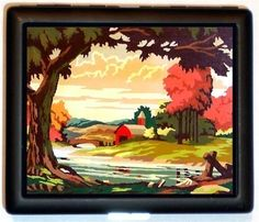 Landscape Country Paint By Numbers Retro Kitsch art Lowbrow ID or Cigarette Case Pulp Pinup Pin Up Wallet Business Card Holder Kitsch. $9.99, via Etsy.