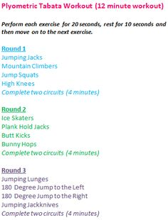 Plyomteric workout - tabata:  Replace jumping jackknife for tuck jump. Round 4 will be any 8 exercises in rounds 1-3.