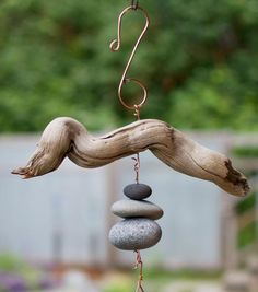 Driftwood and Beach Stone Natural Wind Chime Outdoor Handcrafted