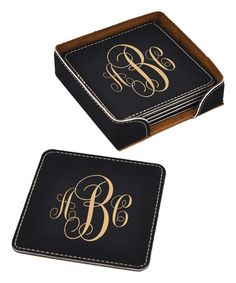 Look at this #zulilyfind! Black & Gold Leather Personalized Coaster Set…