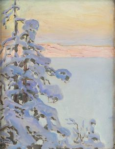 Nature Painting - Akseli Gallen-kallela View Across The Lake by Celestial Images Paintings I Love, Small Paintings, Nature Paintings, Contemporary Landscape, Landscape Art, Landscape Paintings, Lake Painting, Winter Images, Post Impressionism