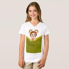 Pocket Lilly V- Neck Tee for Girls - kids kid child gift idea diy personalize design