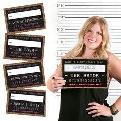 Girls Night Out Funny mug shots are a hilarious way to create bachelorette party photos. This set of 20 mug shot signs will inspire a variety