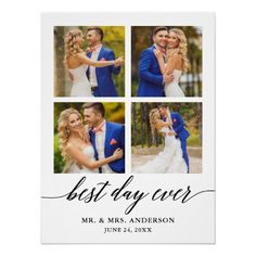 Calligraphy Best Day Ever 4 Photo Wedding Poster Wedding Calligraphy, Modern Calligraphy, Wedding Posters, Multi Photo, Card Companies, 4 Photos, Custom Posters, Funny Cards, Best Day Ever