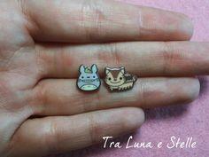 Earrings Totoro and Catbus Studio Ghibli cute by TraLunaeStelle