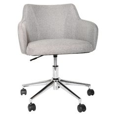 Room Essentials Office Chair Upholstered Grey Linen