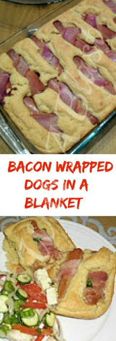 Bacon Wrapped Dogs In A Blanket ~ Forget the rolls and serve Bacon wrapped hotdogs this way for dinner or lunch Easy Casserole Recipes, Bacon Recipes, Appetizer Recipes, Cooking Recipes, Appetizers, Bologna Recipes, Weird Food, Bacon Wrapped, Yummy Eats