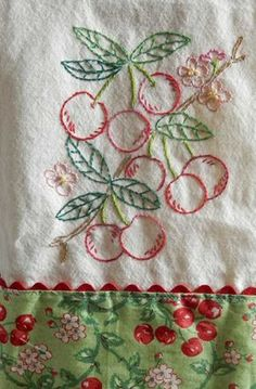 Hand-embroidered Cherry dish or tea towel by limephosphate on Etsy