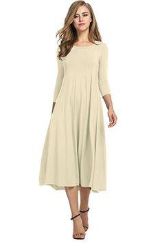 HOTOUCH Women's Casual Plain 3/4 Sleeve Simple Tshirt Loose Midi Dress (Beige S)