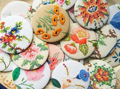 embroidery (and cross-stitch) buttons These are soooo beautiful! Such patience too.