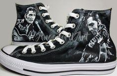 190d313fd97c6c Custom Painted Elvis Presley The King inspired Converse Hi Tops   Vans shoes  sneakers