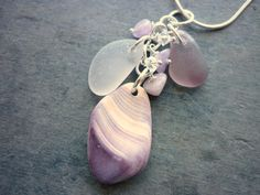 Sea Glass Necklace - Purple Wampum Sea Shell  Beach Seaglass Jewelry.  Great idea for the pieces I found...