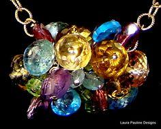 Aquamarine,Blue Topaz,Peridot,Citrine, Honey Quartz, Amethyst,Tourmaline,14K Gold Filled Chain Necklace