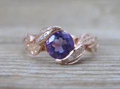 Purple Amethyst Rose Gold Engagement Ring, Leves Engagement Ring, Rose Gold Ring With purple Amethyst, Rose Gold Ring, Engagement Ring