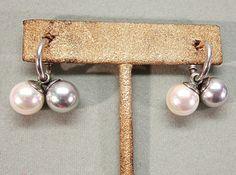 Sterling Silver and Pearl Drop Hugger Pierced Earrings by COBAYLEY,