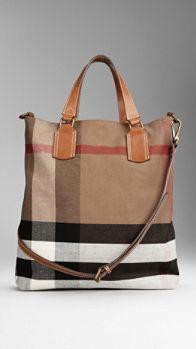 Medium Canvas Check Tote Bag   Burberry