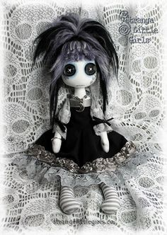 Button eyed Gothic cloth art doll in black and silver grey - Amelie Nightmist by Strange Little Girls