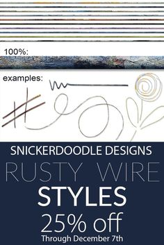 This is a set of 12 unique, seamless rusty wire styles, provided in .asl and PSD formats. These styles were designed to work best on thin objects. Adjusting the bevel will allow you flexibility when the style is needed for a larger embellishment.  #SnickerdoodleDesigns  #digitalscrapbooking  #RustyWireStyles  https://snickerdoodledesignsbykaren.com/shop/index.php?main_page=product_info&cPath=61&products_id=1615  *Note: This product was included in the Styles Grab Bag, Nov, 2017. Please check…