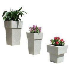 KutStone 15.5 in. Saratoga Speckled Granite Planter Set (3-Piece)-SARA-3PC-SP at The Home Depot