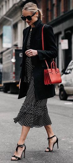 9f515b6267c1 how to style a red beg   blazer + printed dress + heels Fashion Weeks