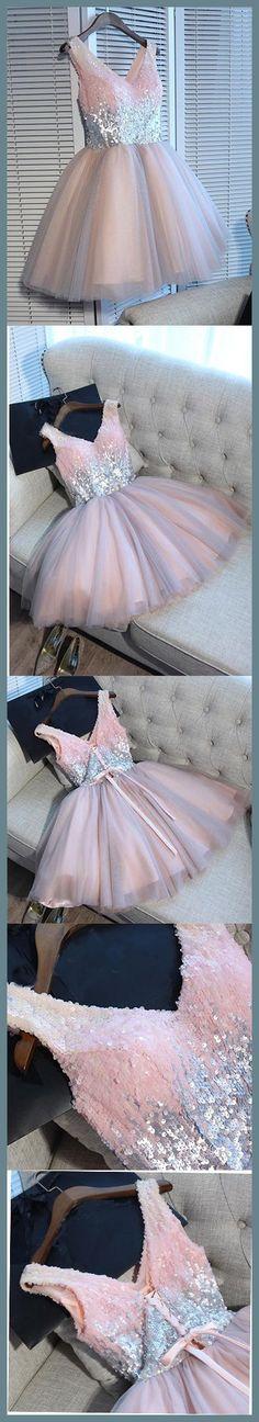 A-line Princess V-neck Shiny Sleeveless Homecoming Dresses, Party Dresses ASD2614,shiny homecoming dresses party homecoming dresses,