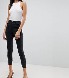 DESIGN - Ridley - Enge Jeans in verwaschenem Schwarz mit Saum in Leder-Optik und Western-Stil - Schwarz Asos F9eNoekO3z