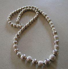 SALE Retro Vintage Silver Metal Beaded Korean Necklace 10% Discount by BESTBUYONLINES, $10.00  SOLD