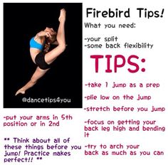 dance tips Firebird! Dancer Workout, Gymnastics Workout, Gymnastics Stuff, Dance Hip Hop, Dance Flexibility Stretches, Stretching, Ballet Stretches, Dance Leaps, Dance Motivation