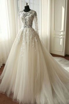White organza lace long sleeves see-through A-line long dresses,wedding dresses - occasion dresses by Sweetheartgirls