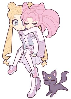 Sailor Moon : Usagi and Chibiusa Tsukino + Luna by nekozneko.deviantart.com on @deviantART