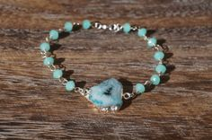 Blue Serenity Bracelet  Electroplated Agate by MySerenityDesigns