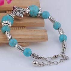 "Natural Turquoise/Tibetan Silver Bracelet New Natural Turquoise/Tibetan Silver Bracelet New 6 1/2"" Adjustable Jewelry Bracelets"
